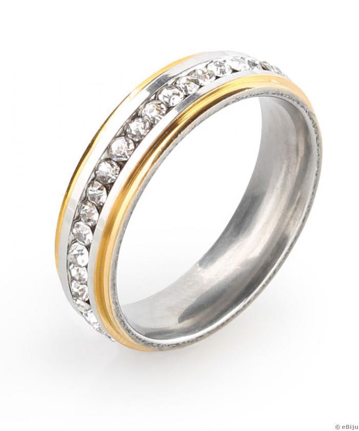 Inel Inox Argintiu Auriu Tip Verighetă Cu Cristale 20 Mm